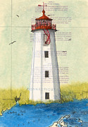 New England Lighthouse Paintings -  Faulkner Island Lighthouse CT Nautical Chart Map Art by Cathy Peek