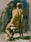 Gericault Framed Prints -  Figure Painting Male Nude Seated Original Oil on Canvas Framed Print by Thor Wickstrom