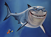 Bruce Painting Metal Prints -  Finding Nemo Metal Print by Paul Meijering