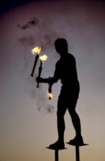 Juggling Photo Prints -  Fire Juggler Print by Carl Purcell