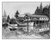 Framed Prints Drawings Prints -  Fishermans Net Shed Gig Harbor Print by Jack Pumphrey
