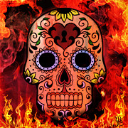 Frightening Mixed Media -  Flamin Candy Skull by Mindy Bench