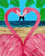 Flamingo Love Print by Annie Zeno
