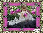 Little Girls Mixed Media Prints -  Flower Girl Upon Rocks Print by Cibeles Gonzalez