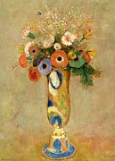 Floral Prints Prints -  Flowers in a Painted Vase Print by Odilon Redon
