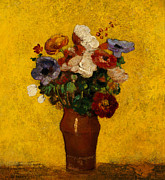 Flower Still Life Posters -  Flowers Poster by Odilon Redon