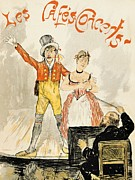 Advertisement Drawings -  France Paris poster of stage performance at Cafe chantant by Anonymous
