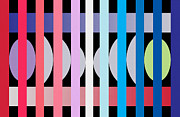 Contemporary Digital Art Metal Prints -  Fun Geometric  Metal Print by Mark Ashkenazi