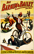Barnum And Bailey Prints -  Funny Scenes of Bicycles and Roller Skates Print by Nomad Art And  Design