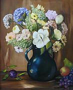 White Grapes Paintings -  Garden Bouquet by Carol Sweetwood