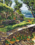 Brush Painting Prints -  Garden Stairway Print by  