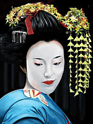 Flowers In Her Hair Framed Prints -  Geisha Framed Print by Andrew Harrison
