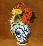 Floral Prints Prints -  Geraniums and other Flowers in a Stoneware Vase Print by Odilon Redon