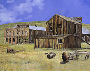 Mining Prints -  ghost town of Bodie-California Print by Guido Borelli