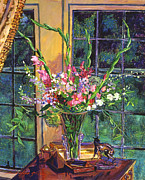 Interior Still Life Paintings -  Gladiola Arrangement by  David Lloyd Glover