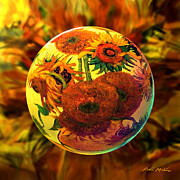 Sunflowers Digital Art -  Globing Inflorescence by Robin Moline
