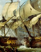 Sailing Ship Painting Prints -  Glorious First of June or Third Battle of Ushant between English and French Print by Anonymous
