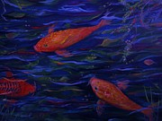 Golden Fish Painting Posters -  Golden Fish Koi Poster by Yolanda Rodriguez