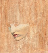 Red Lips Drawings -  Head of Proserpine by Dante Charles Gabriel Rossetti