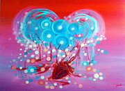 Neo Surrealism Prints -  Heart Echo Print by Dariush Alipanah- Jahroudi