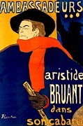 Son Drawings Posters -  Henri de Toulouse Lautrec French 1864 1901 Aristide Bruant dans son cabaret 1892 Poster by Anonymous