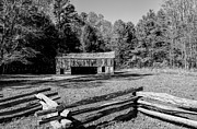 Historical Cantilever Barn At Cades Cove Tennessee In Black And White Print by Kathy Clark