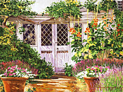 Gardenscape Paintings -  Hollyhock Gardens by David Lloyd Glover