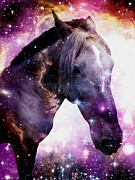 Office Space Mixed Media Prints -  Horse in the Small Magellanic Cloud Print by Anastasiya Malakhova