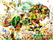 Horse Jumping Paintings -  Horse Painting.2 by Fabrizio Cassetta