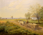 Horse And Cart Art -  Horses and Wagon by Kazimierz Bac