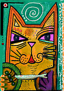 Greeting Mixed Media -  House of Cats series - Fish by Moon Stumpp