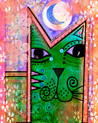 Whimsical Mixed Media Prints -  House of Cats series - Moon Cat Print by Moon Stumpp
