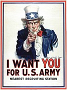 Flagg Posters -  I Want You for the US Army recruitment poster during World War I Poster by James Montgomery Flagg