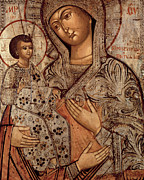 Orthodox Painting Prints -  Icon of the Blessed Virgin with Three Hands Print by Novgorod School