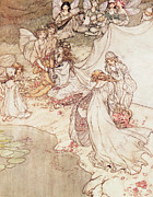 Fairies Posters -  Illustration for a Fairy Tale Fairy Queen Covering a Child with Blossom Poster by Arthur Rackham