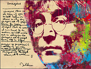 Signature Digital Art Framed Prints - -Imagine-John Lennon Framed Print by Vitaliy Shcherbak