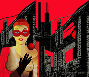 Schoendorf Digital Art -  In Red   City Darkness  - 014  by Irmgard Schoendorf Welch