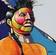 Contemporary Native Art Paintings -  Indian Portrait by Joe  Triano