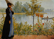 Dog In Lake Posters -  Indian Summer Poster by Carl Larsson