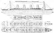 Diagram Art -  Inquiry into the Loss of the Titanic Cross sections of the ship  by English School