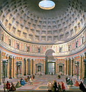 Perspective Art -  Interior of the Pantheon by Panini