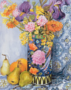 Fruit Art -  Iris and Pinks in a Japanese Vase with Pears by Joan Thewsey