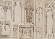 Tour Drawings Metal Prints -  Islamic and Moorish design for shutters and divans Metal Print by Jean Francois Albanis de Beaumont