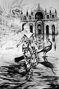 Allegory Drawings -  Italian Fantasies.Venice. Acqua alta by Anna  Duyunova