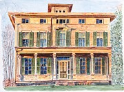 Watercolour Canvas Paintings -  Italianate House NY by Anthony Butera