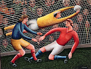 Soccer Painting Prints -  Its a Great Save Print by Jerzy Marek