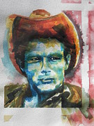 Reds Gold Greens White Blues Prints -  James Dean Painting Print by Chrisann Ellis