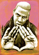 Record Producer Framed Prints -  Jay-Z art sketch poster Framed Print by Kim Wang