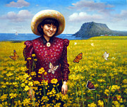 Korea Paintings -  Jeju Island Girl by Yoo Choong Yeul