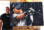 Autographed Paintings -  JETER 3000 HITS Original sold  10 LIMITED EDITION PRINTS SOLD OUT  by Sports Art World Wide John Prince